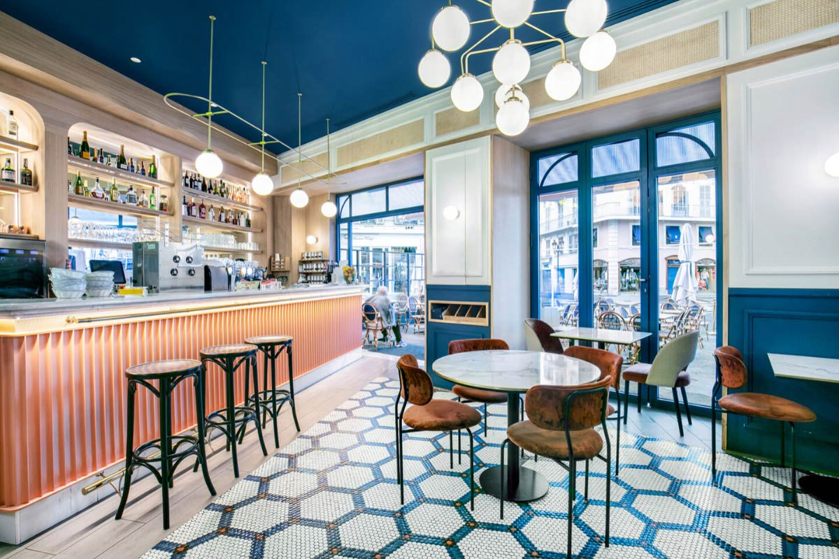 Bespoke Light Fixtures in This Sophisticated French Restaurant
