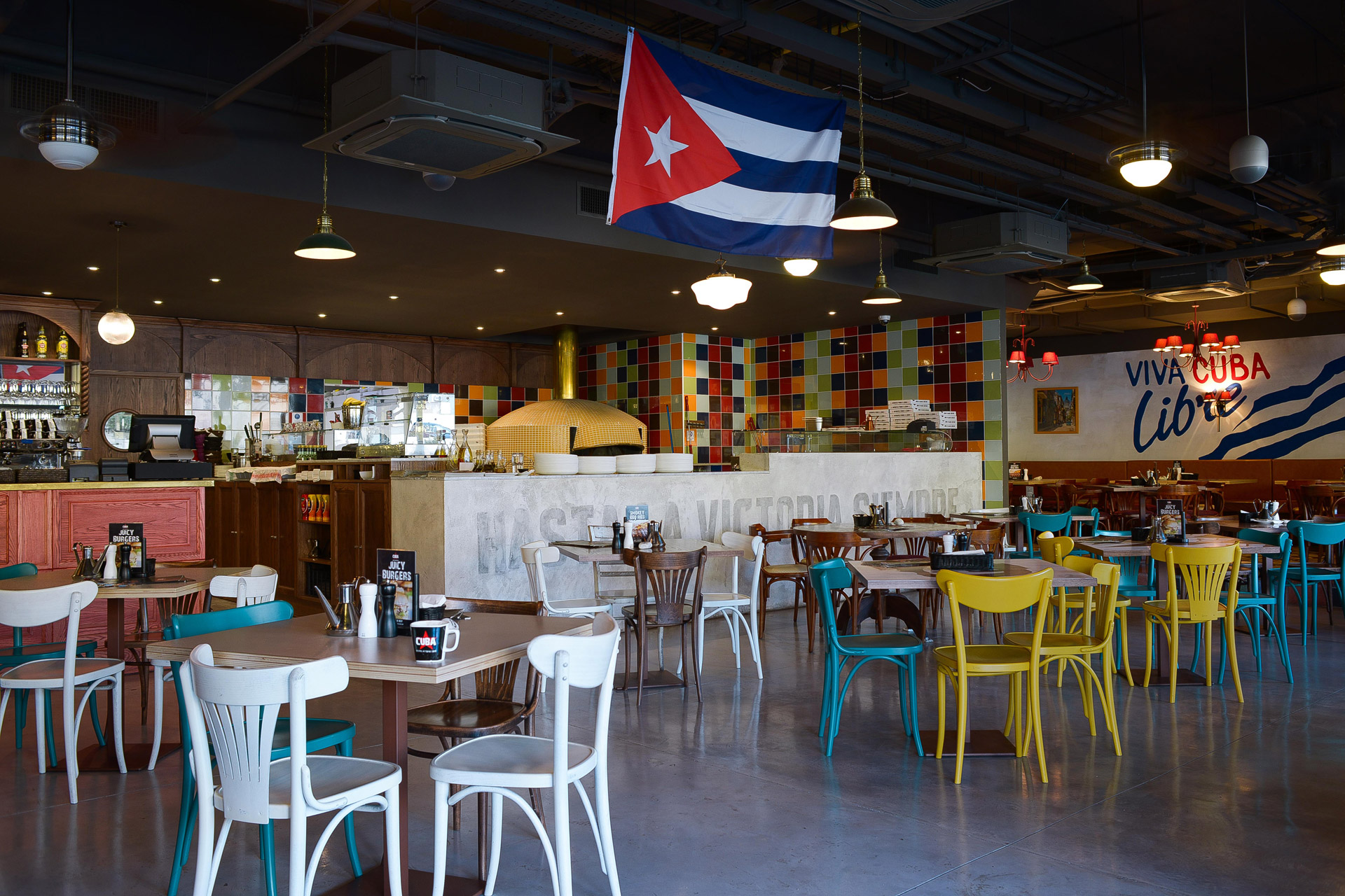 Our vintage-style lights decorate the Cuban-inspired interior of this restaurant
