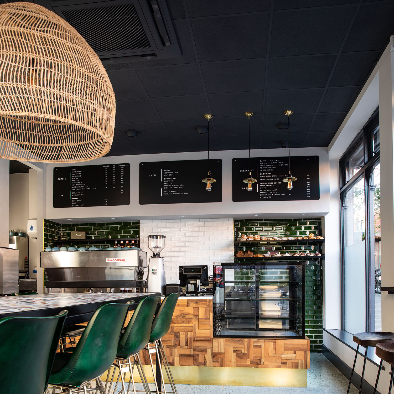 Vintage lighting complements the refurbished interior of this Dublin café
