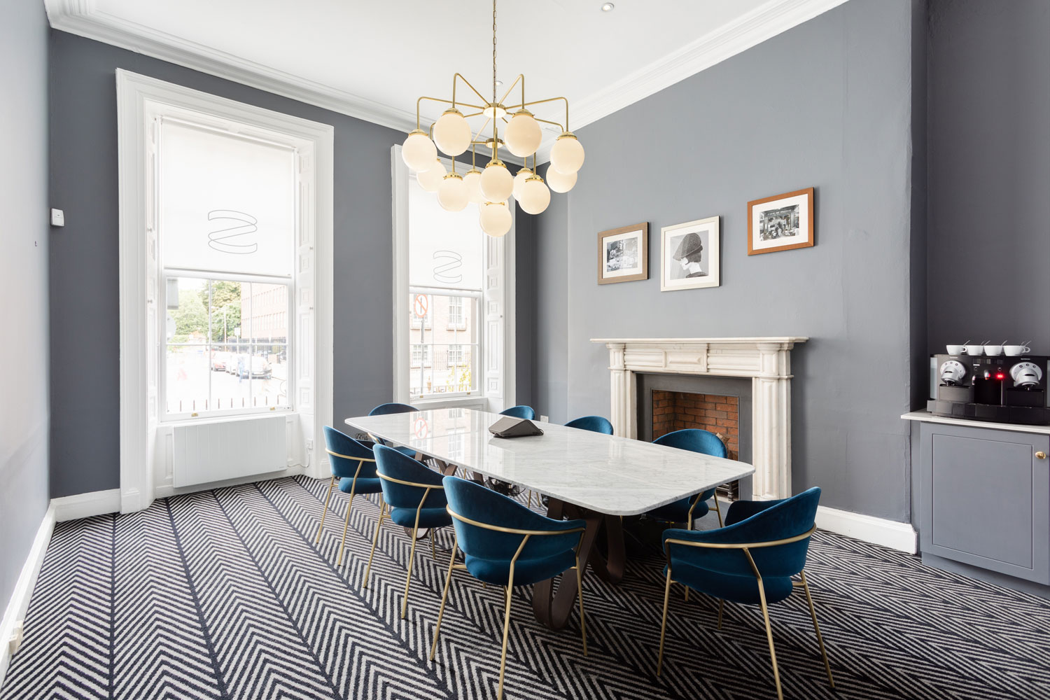 Statement chandeliers in the modern interior of this co-working space in Dublin
