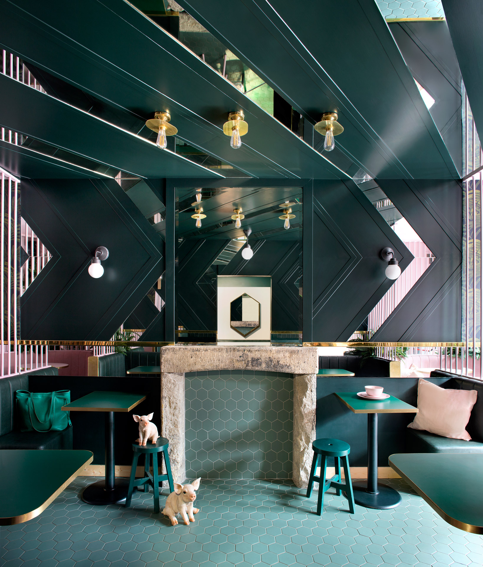 Our Kigoma ceiling lights feature in the bold and beautiful Pot Bellied Pig, Dublin