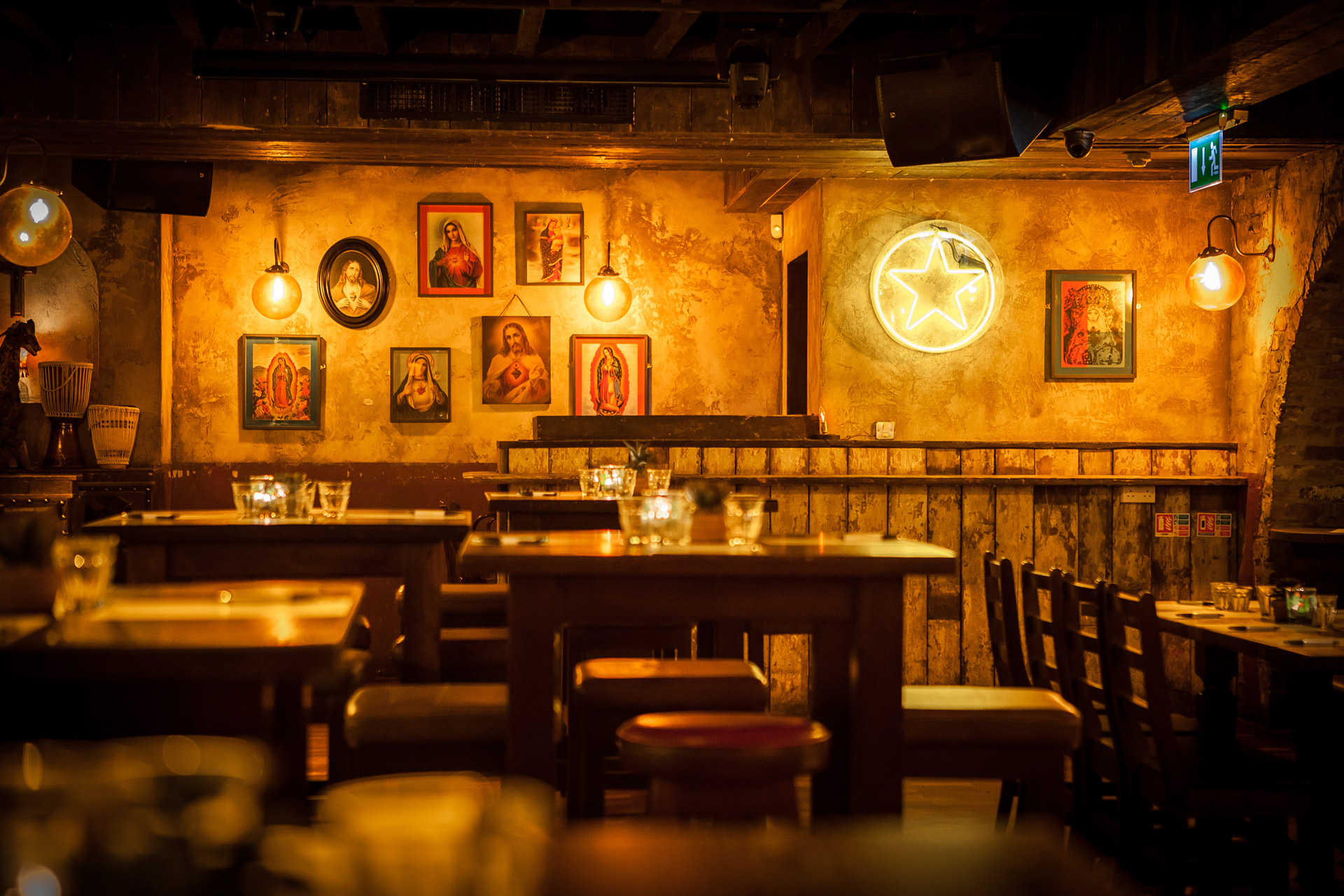 Our Riad light fixtures add a golden glow to the rustic interior of Xico, Dublin