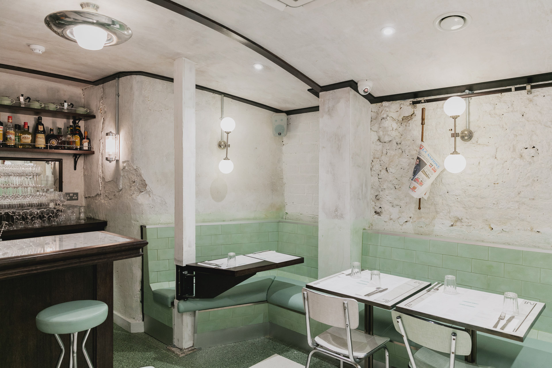 Legendary Italian delicatessen Lina Stores uses our globe wall lights in new Soho restaurant